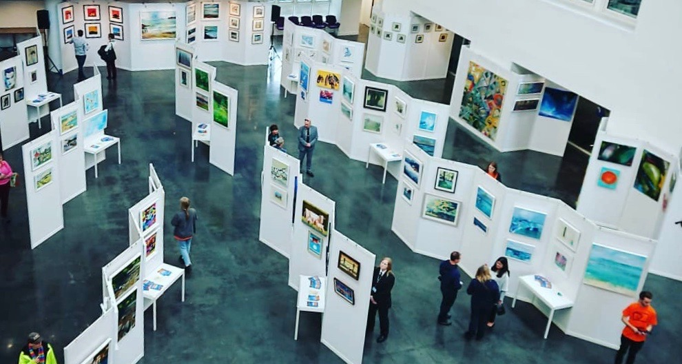 Inside the Atrium at the Accessible Art Show